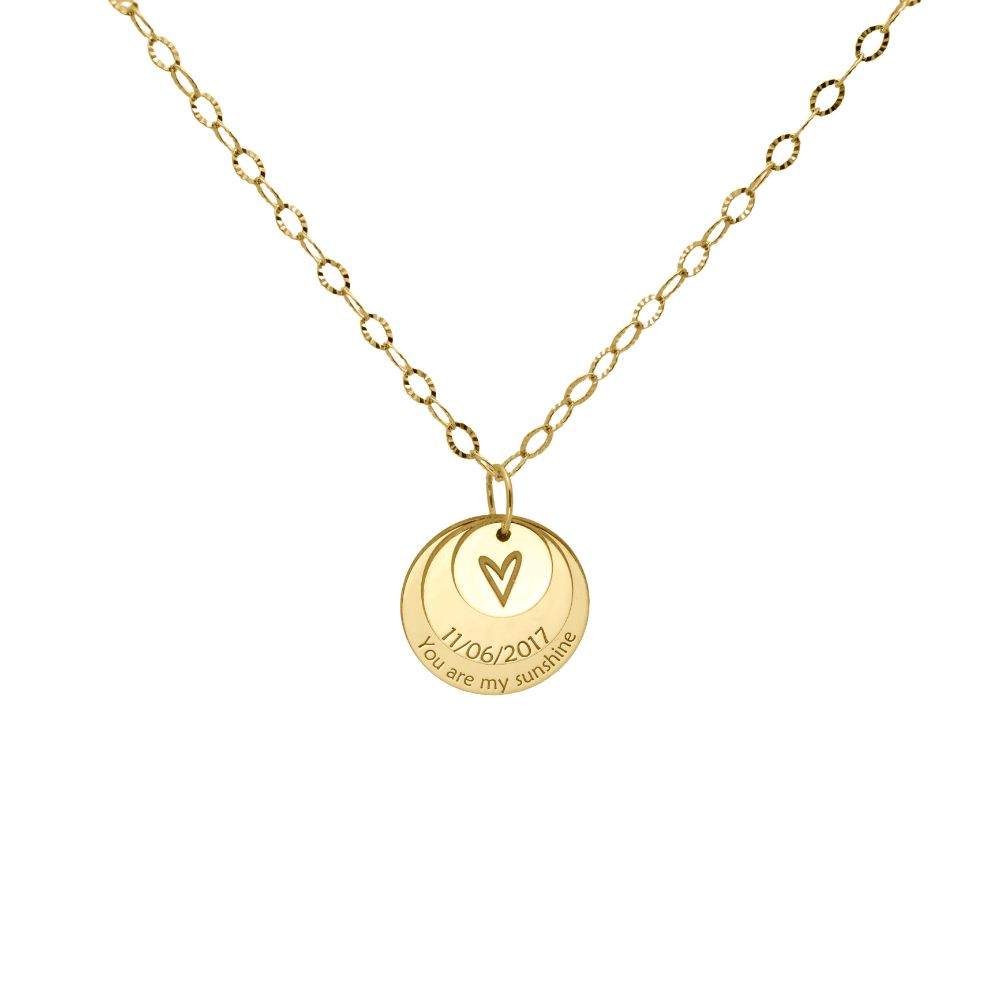 3 Disc Layered Necklace Gold