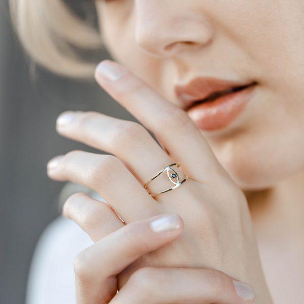 Δαχτυλίδι Μάτι Διπλό Μαύρο Διαμάντι
