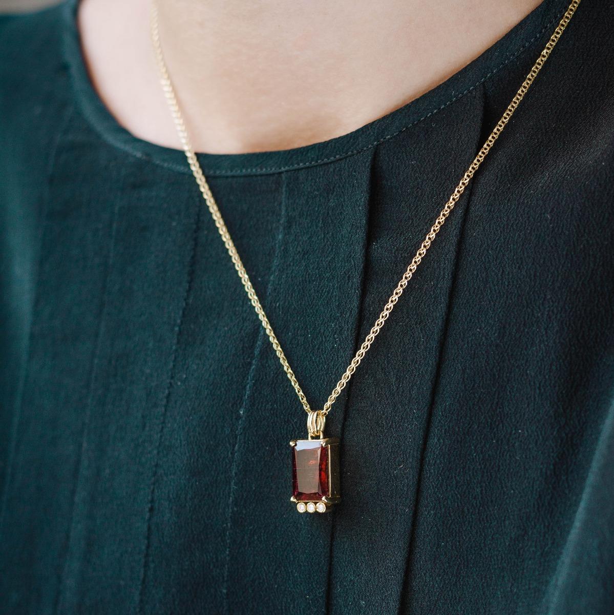 Rubellite Tourmaline Diamond Necklace Gold