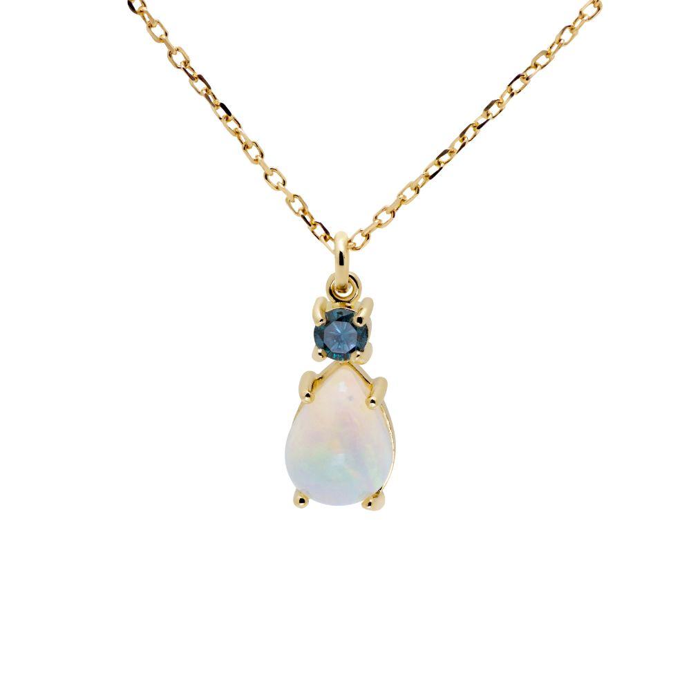 Κολιέ Οπάλιο Μπλε Διαμάντι Χρυσό 14Κ-0