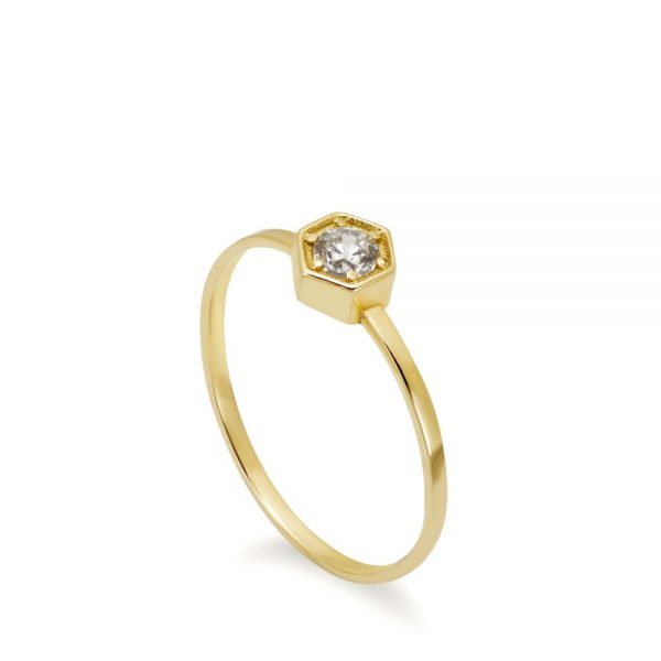 Εξάγωνο Μονόπετρο Δαχτυλίδι Διαμάντι