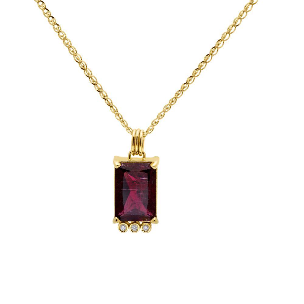 Rubellite Tourmaline Diamond Necklace 14K Gold