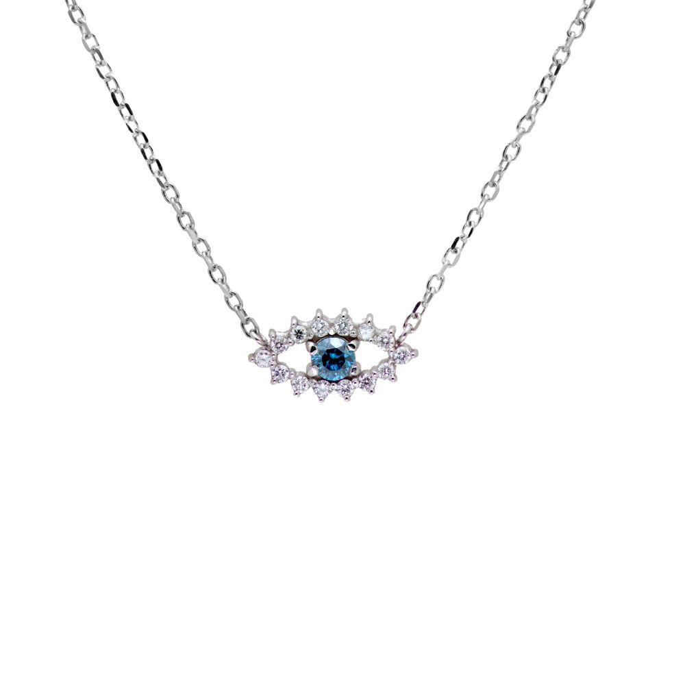 Λευκόχρυσο Κολιέ Μάτι με Μπλε Διαμάντι