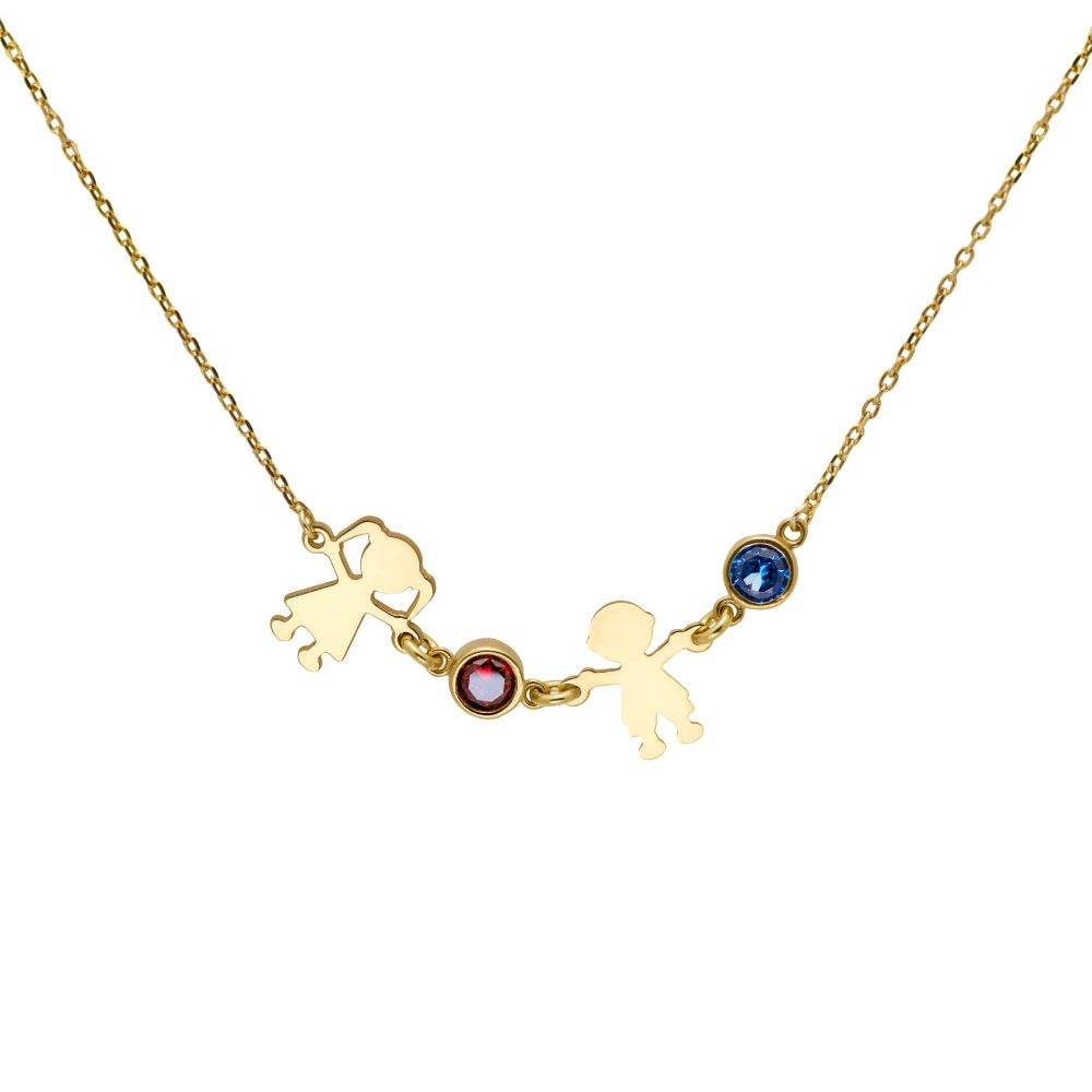 Family Kids Necklace with Birthstones Gold Plated