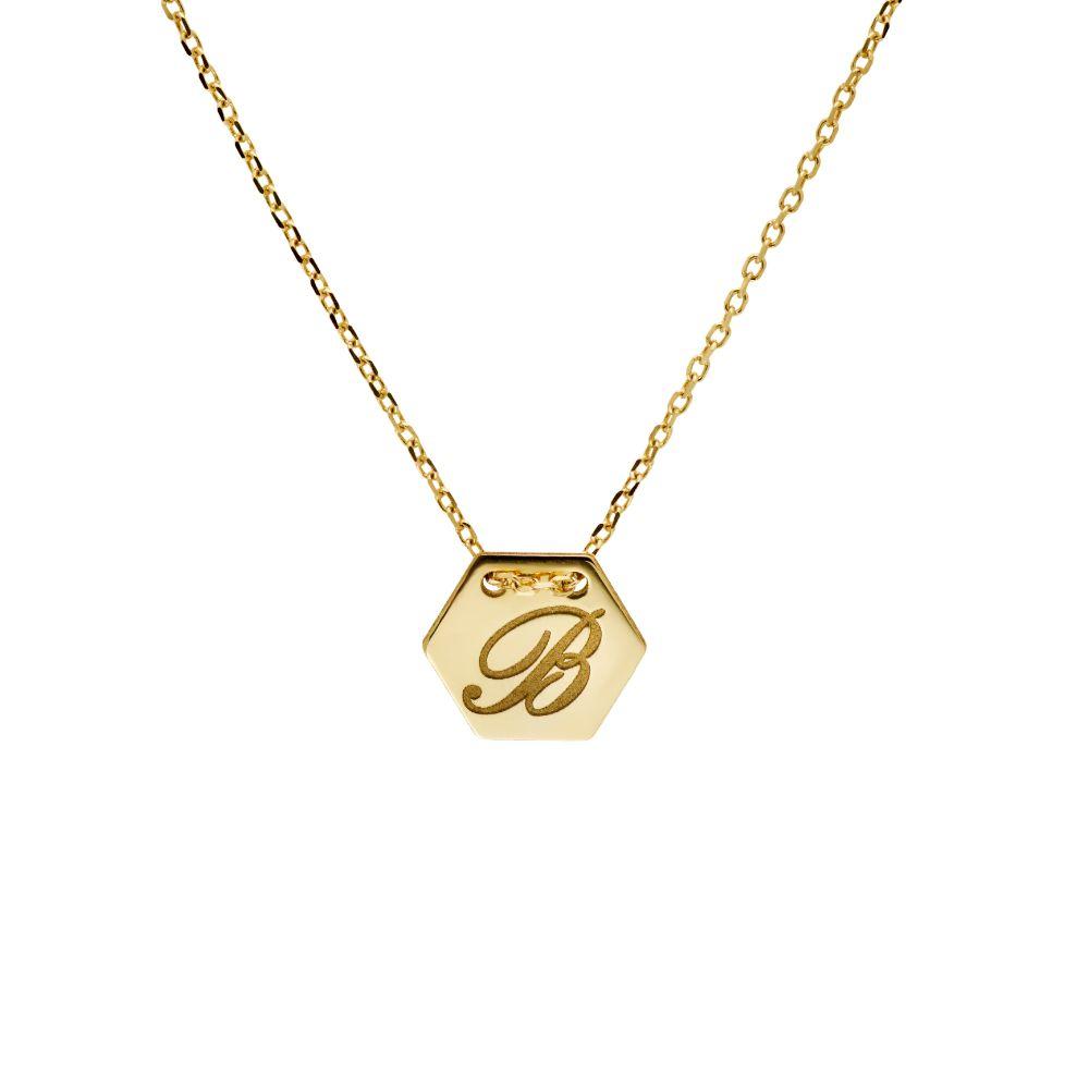 Κολιέ Εξάγωνο με Γράμμα 14K Χρυσό