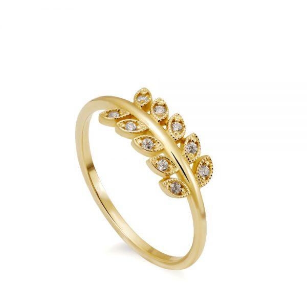 Χρυσό Δαχτυλίδι με Φύλλα και Διαμάντια