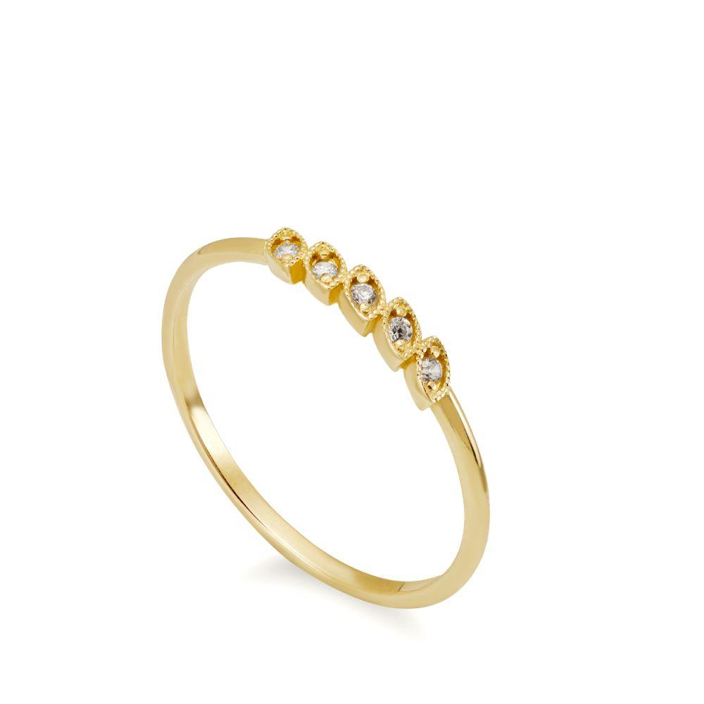 Δαχτυλίδι Φύλλα 5 Διαμάντια