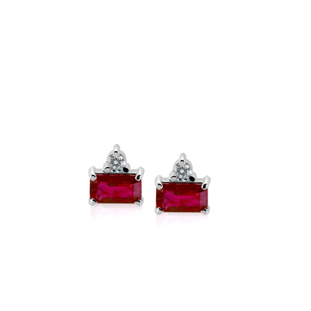 Burma Ruby Diamond Earrings Studs