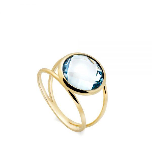 Δαχτυλίδι Διπλό με Ημιπολύτιμες Πέτρες 12mm-0