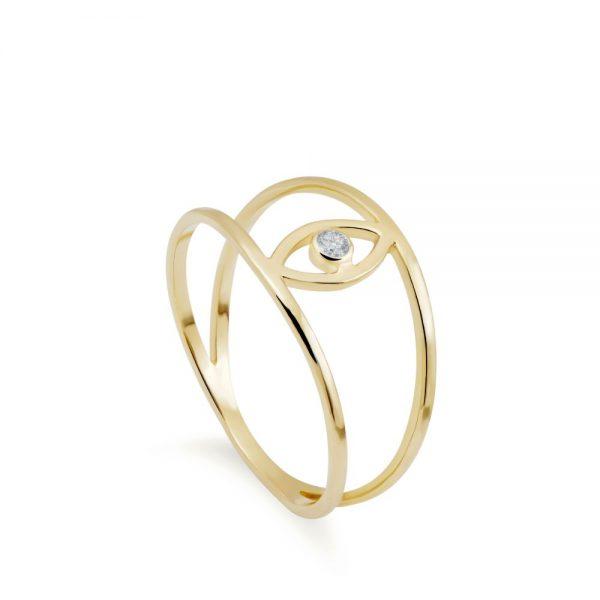 Δαχτυλίδι Μάτι Διπλό Διαμάντι