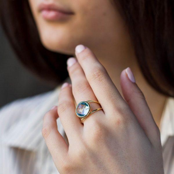 Δαχτυλίδι Διπλό με Ημιπολύτιμες Πέτρες 12mm-19884