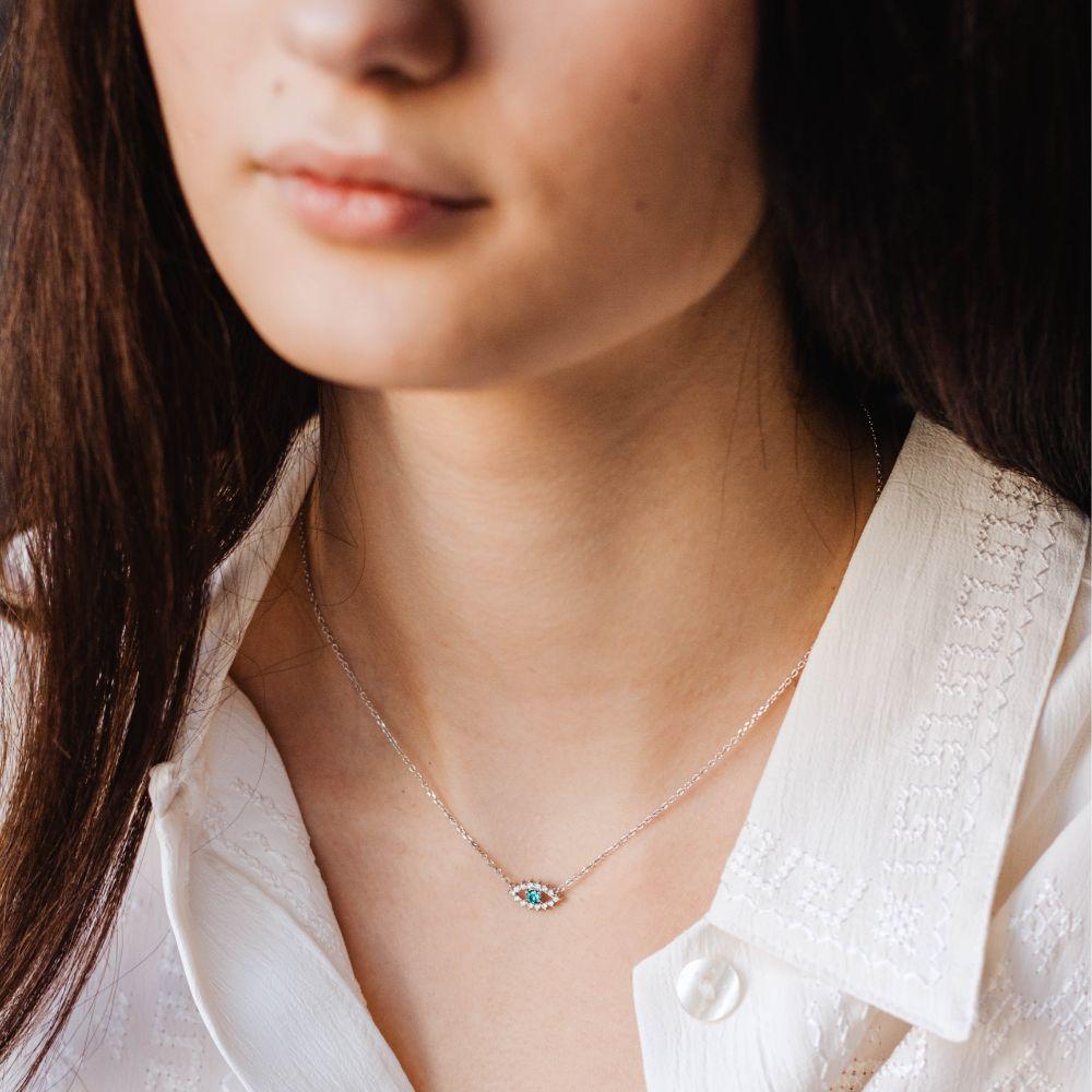 Blue Diamond Eye Necklace 14K White Gold