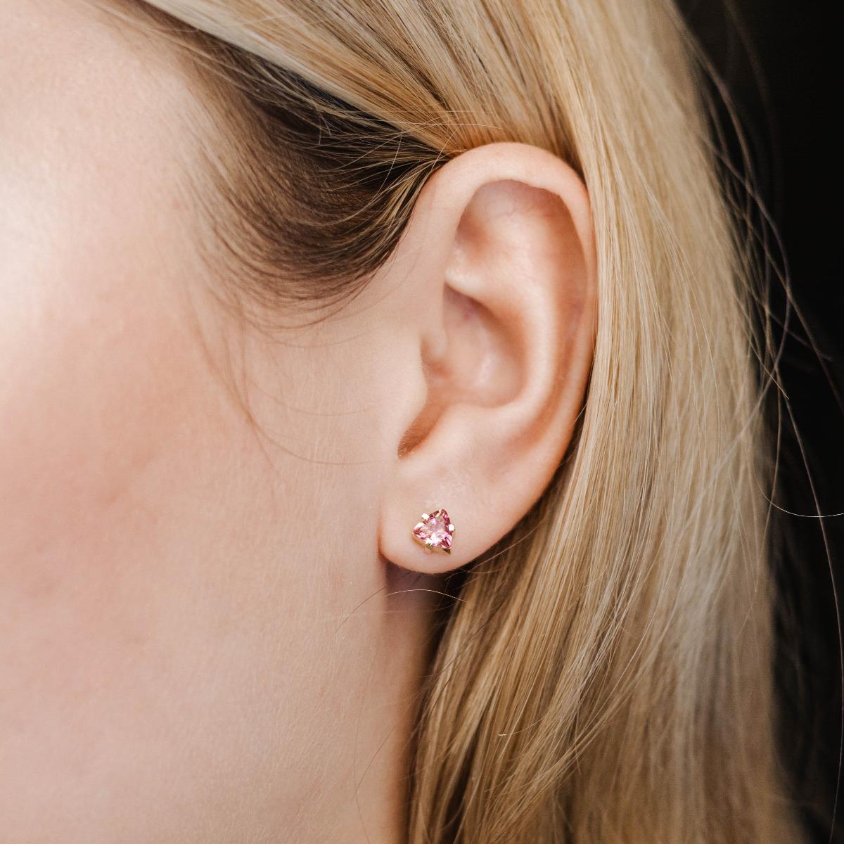 Σκουλαρίκια Μικρά με Ροζ Τουρμαλίνη Χρυσά