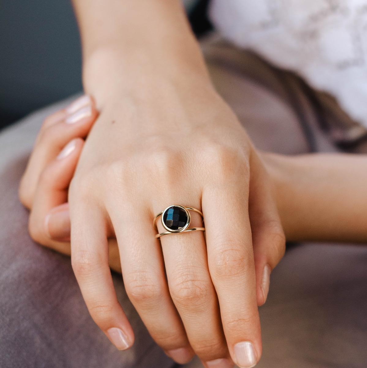 Δαχτυλίδι Διπλό με Ημιπολύτιμες Πέτρες 10mm-17759