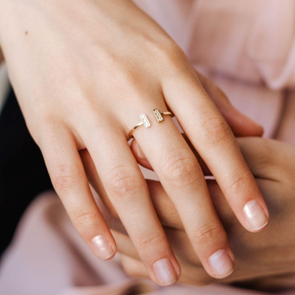 Δαχτυλίδι Ανοιχτό με Διαμάντια -17823