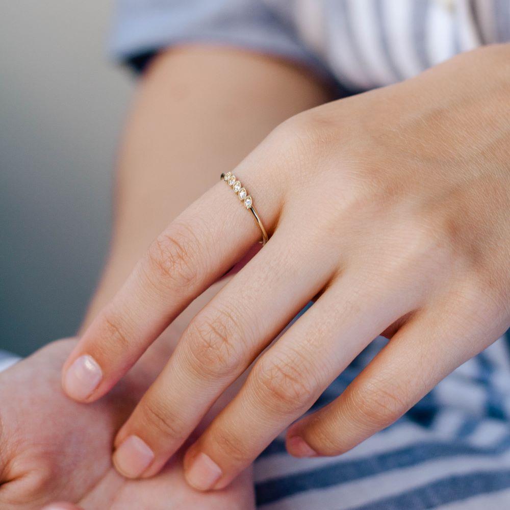 Δαχτυλίδι Φύλλα 5 Διαμάντια-17839
