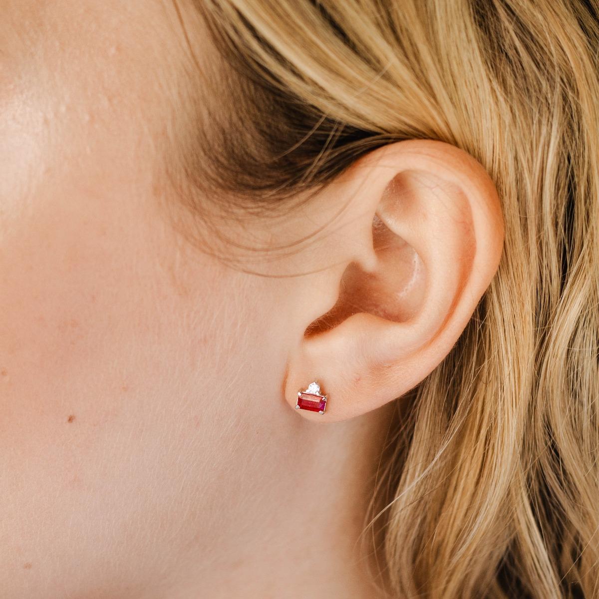 Burma Ruby Diamond Earrings Studs 14K White Gold