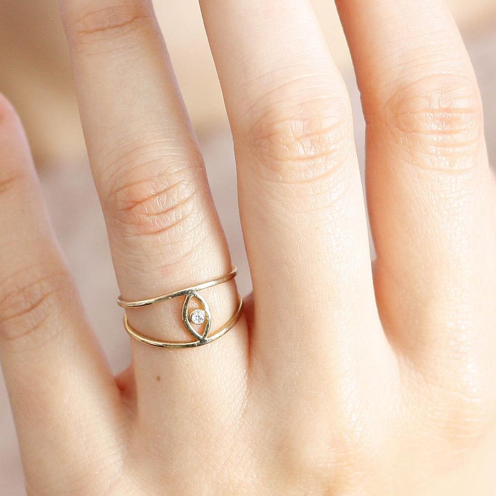Δαχτυλίδι Μάτι Διπλό Διαμάντι-17172
