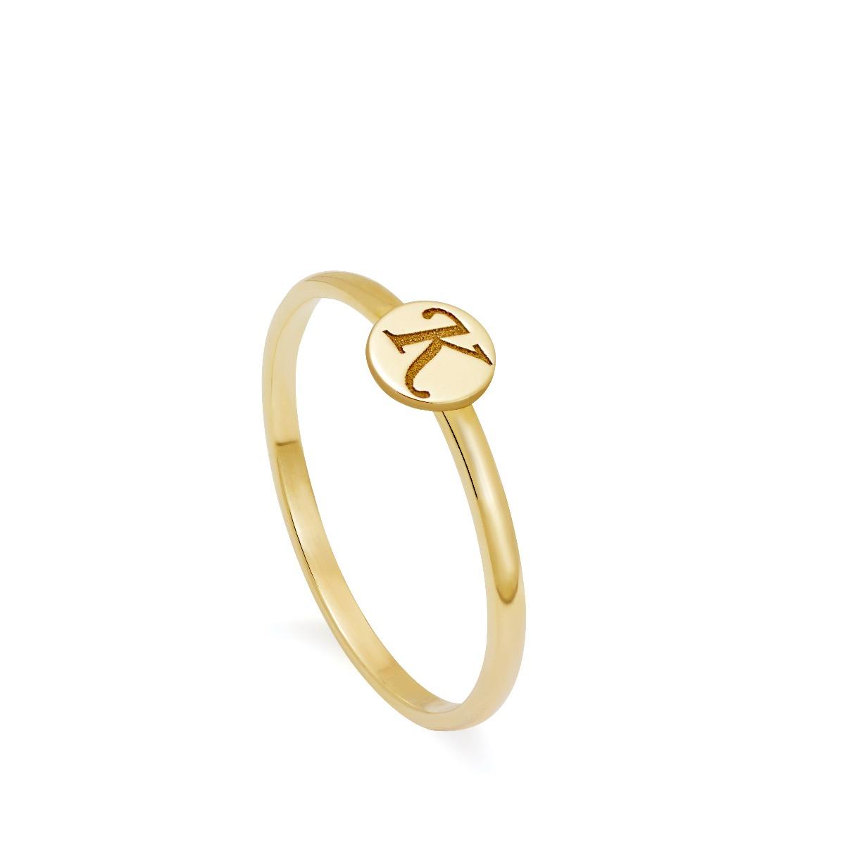 14K Gold Letter Disc Ring