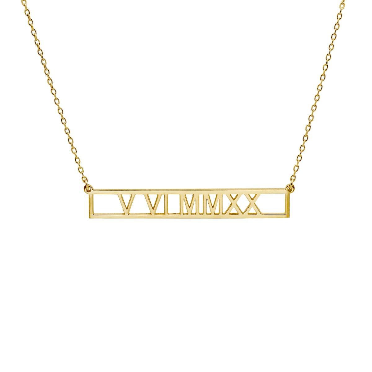 Κολιέ με Λατινικούς Αριθμούς Χρυσό