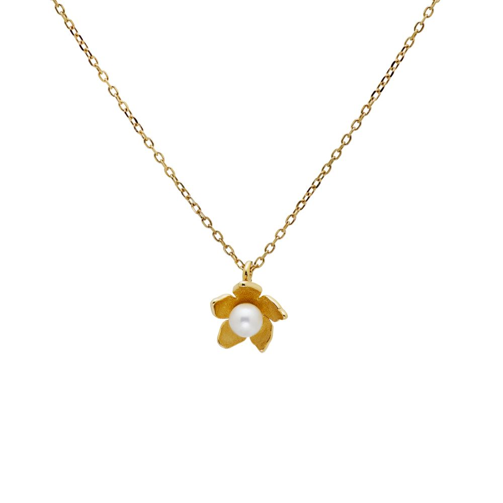 Pearl Flower Necklace 14K Gold
