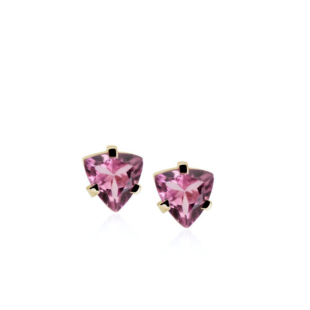 Σκουλαρίκια Μικρά με Ροζ Τουρμαλίνη