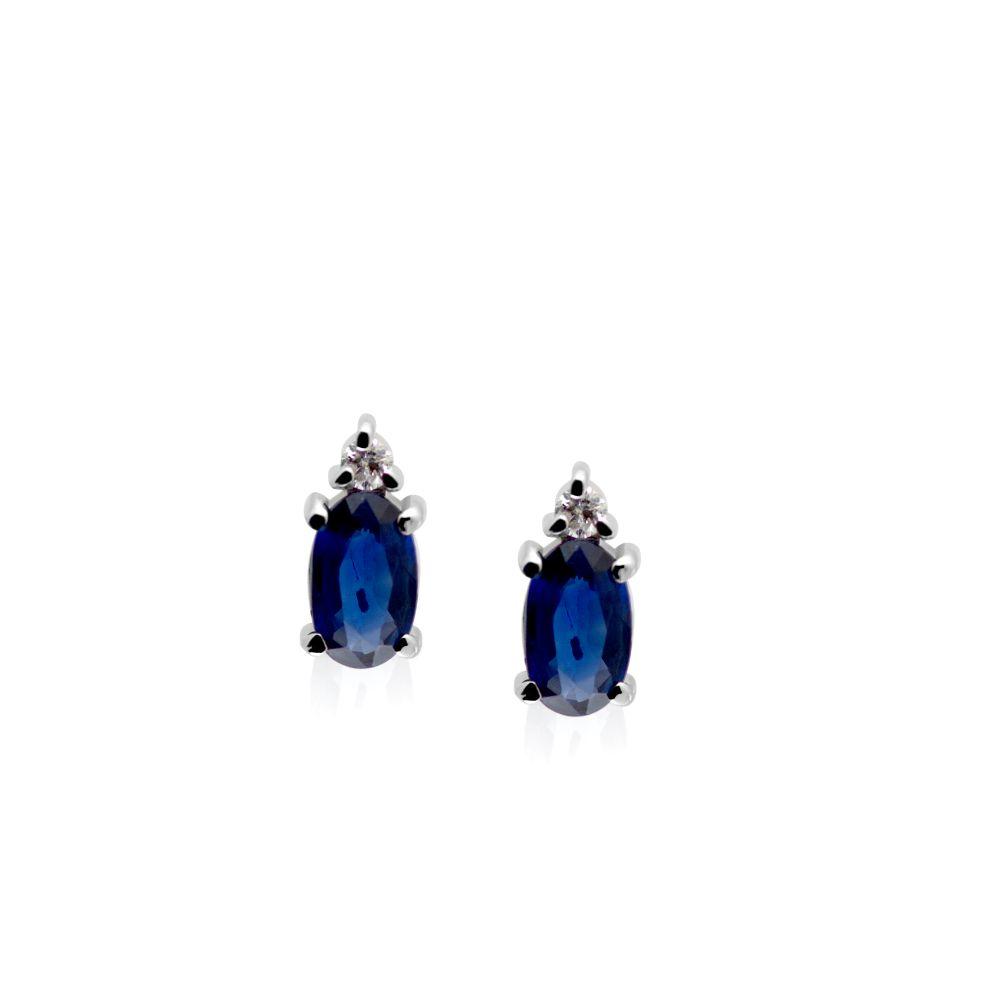Blue Sapphire Diamond Earrings Studs Oval