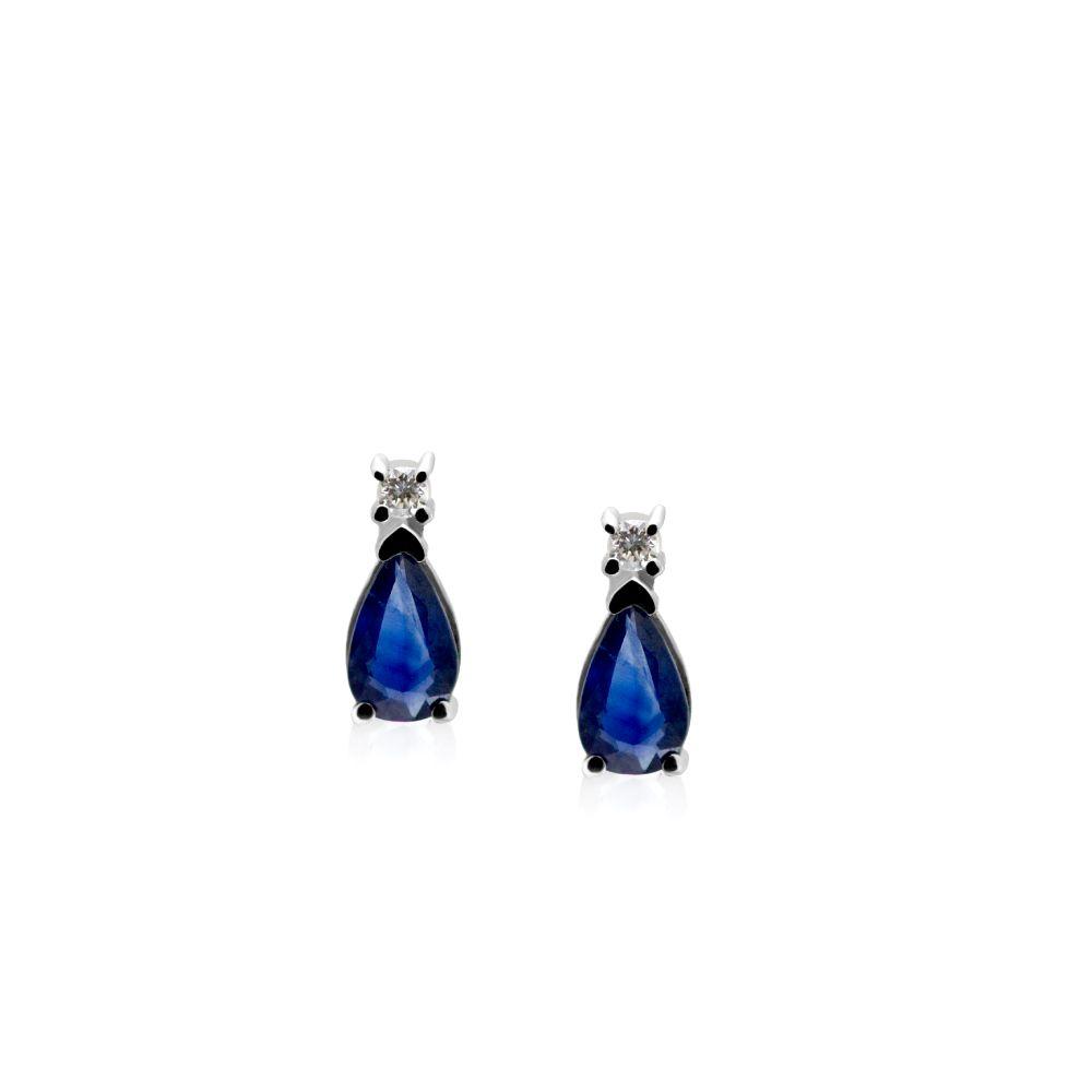 Sapphire Diamond Stud Earrings Baguette Cut