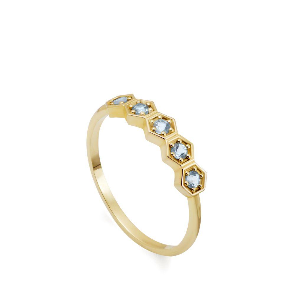 Δαχτυλίδι Blue Topaz Εξάγωνα Χρυσό