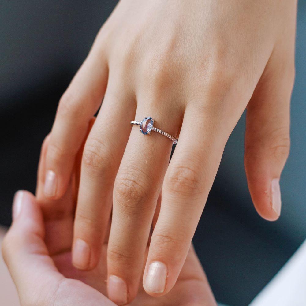 Λευκόχρυσο Δαχτυλίδι Μπλε Ζαφείρι-18327