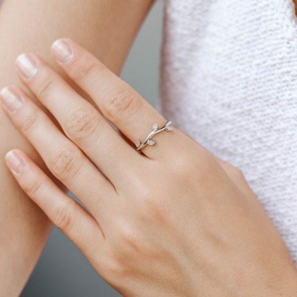 14K Χρυσό Δαχτυλίδι με Φύλλα και Διαμάντια-18381