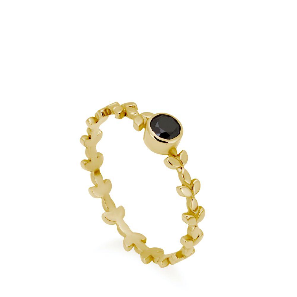 Μονόπετρο Δαχτυλίδι Μαύρο Διαμάντι και Φυλλαράκια