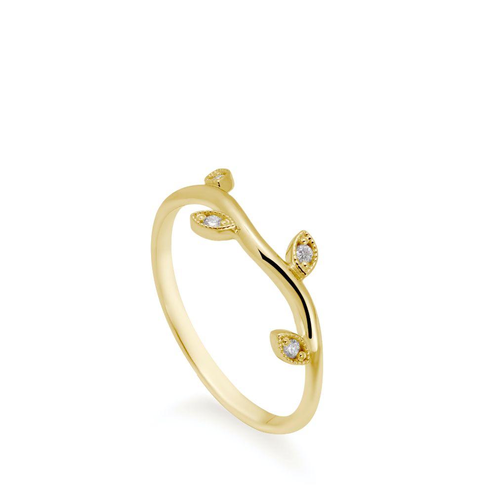14K Χρυσό Δαχτυλίδι με Φύλλα και Διαμάντια