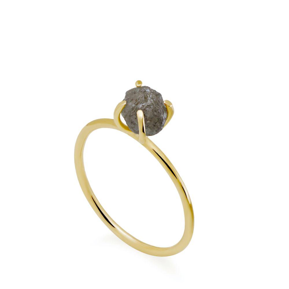 Δαχτυλίδι Ακατέργαστο Γκρι Διαμάντι