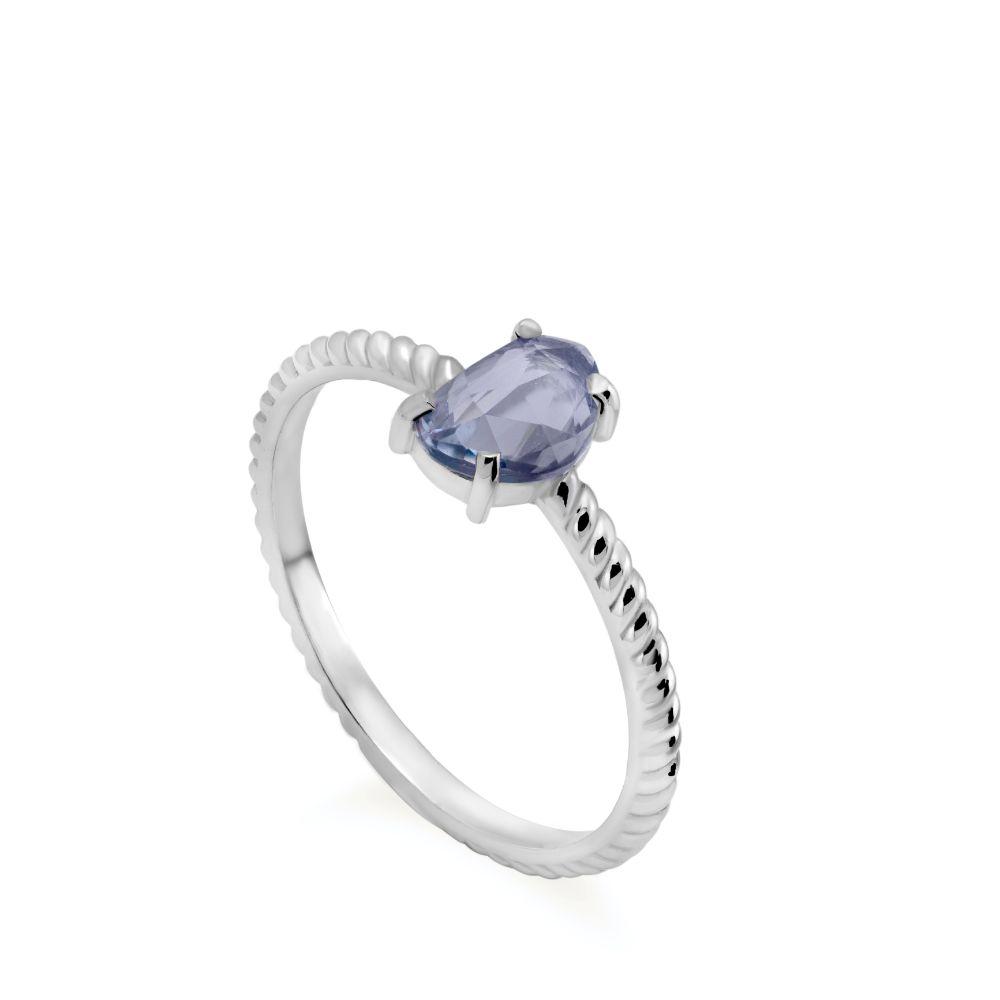 Λευκόχρυσο Δαχτυλίδι Μπλε Ζαφείρι Στριφτό