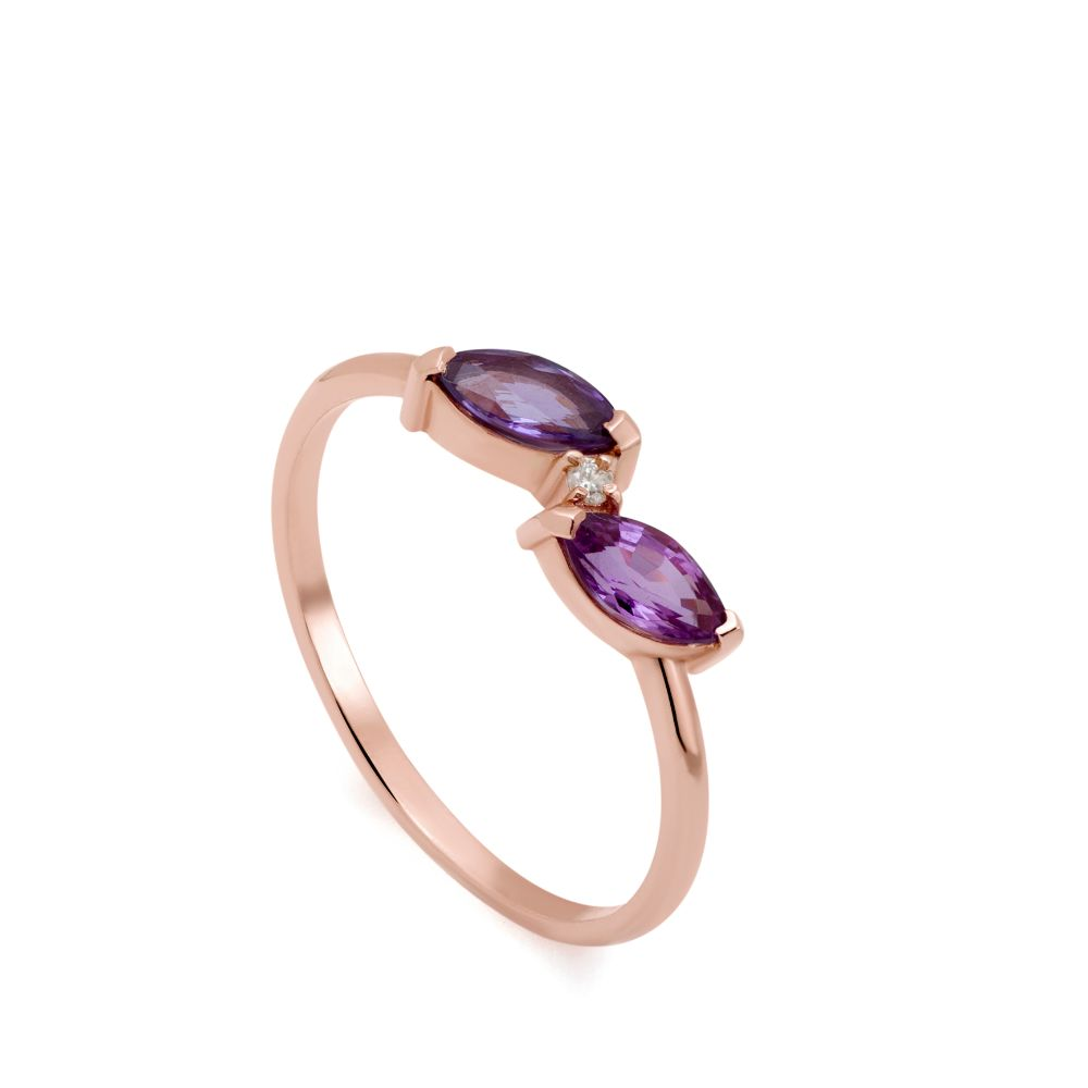 Δαχτυλίδι Μωβ Ζαφείρι Ροζ Χρυσό 14Κ-0
