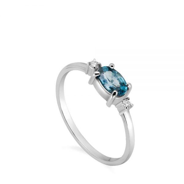 Δαχτυλίδι με Ορυκτό Μπλε Ζιρκόν και Διαμάντια