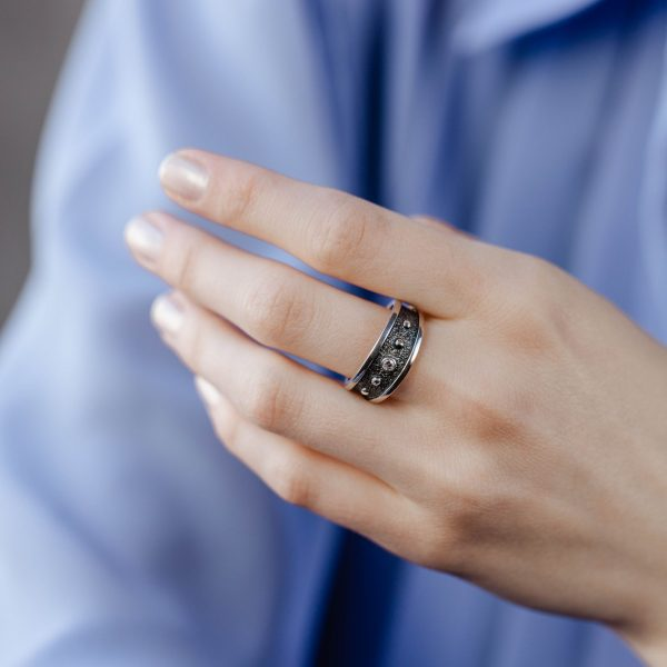 Δαχτυλίδι Statement με Ζιργκόν Οξειδωμένο Ασήμι