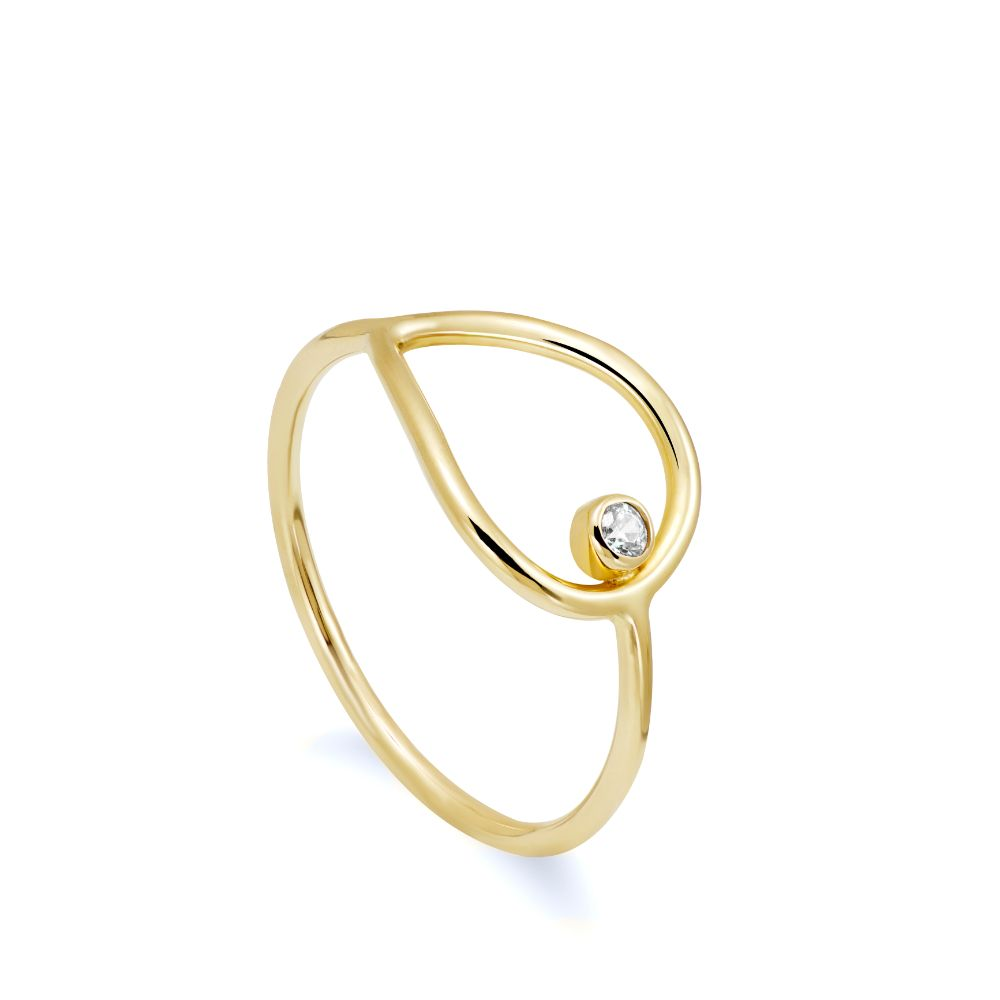 Drop Shaped Ring Gold