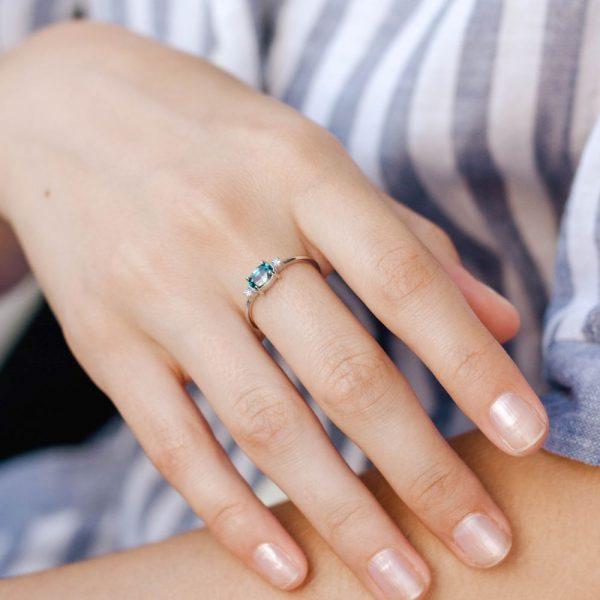 Δαχτυλίδι με Ορυκτό Μπλε Ζιρκόν και Διαμάντια-19688