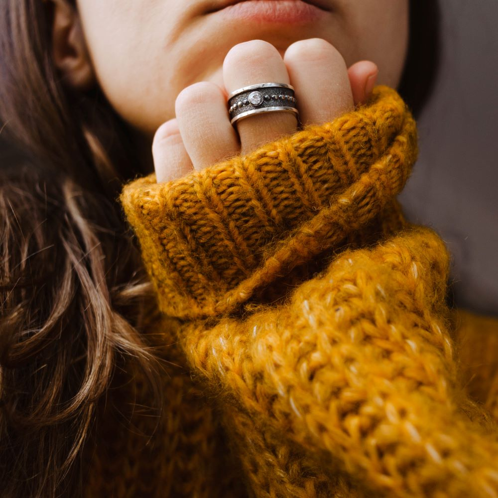 Δαχτυλίδι Μεγάλο με Πέτρα Οξειδωμένο Ασήμι-19625