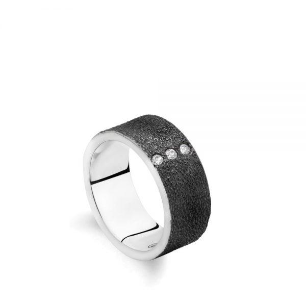 Δαχτυλίδι Ανάγλυφο με Ζιργκόν Οξειδωμένο Ασήμι