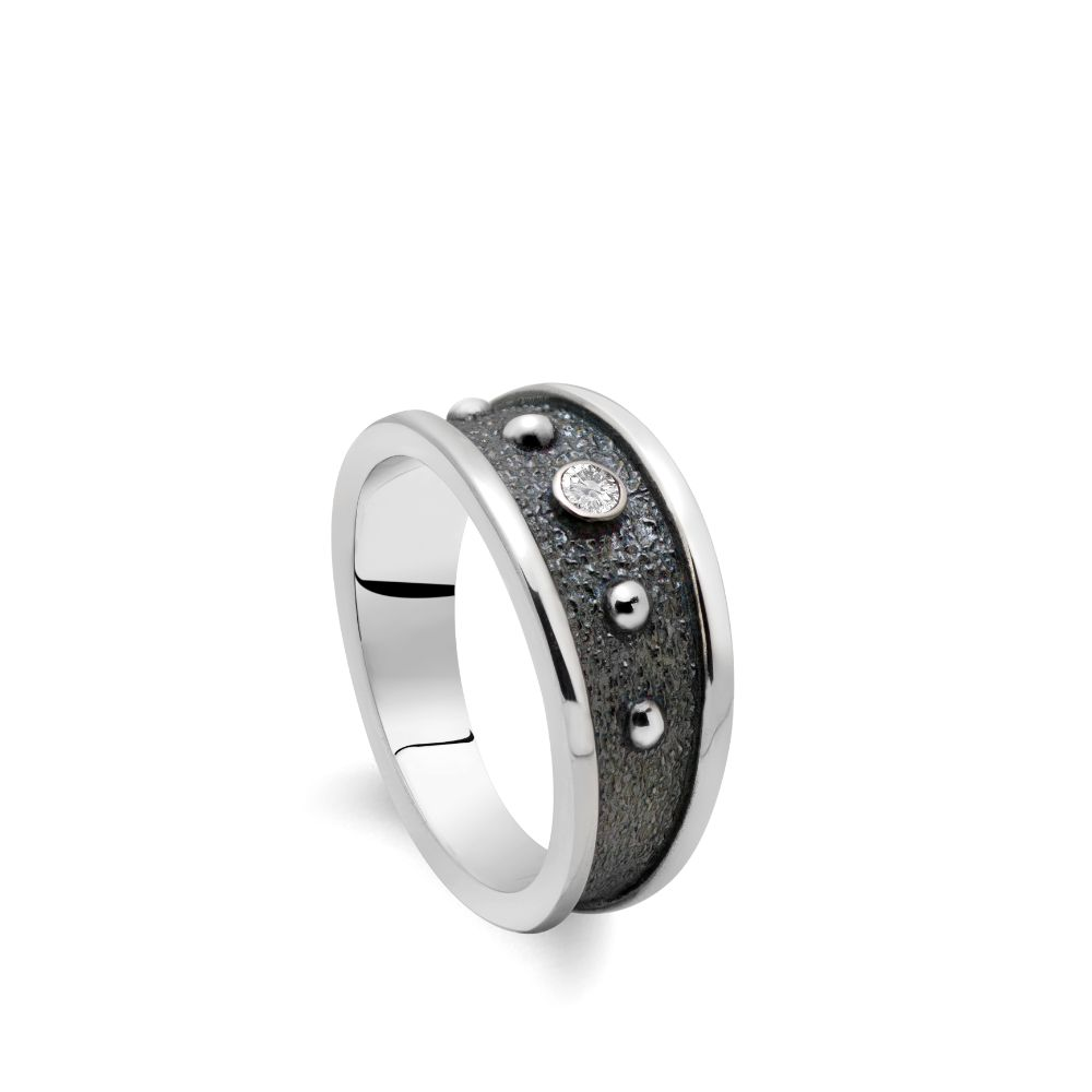 Oxidized Silver Statement Ring with CZ