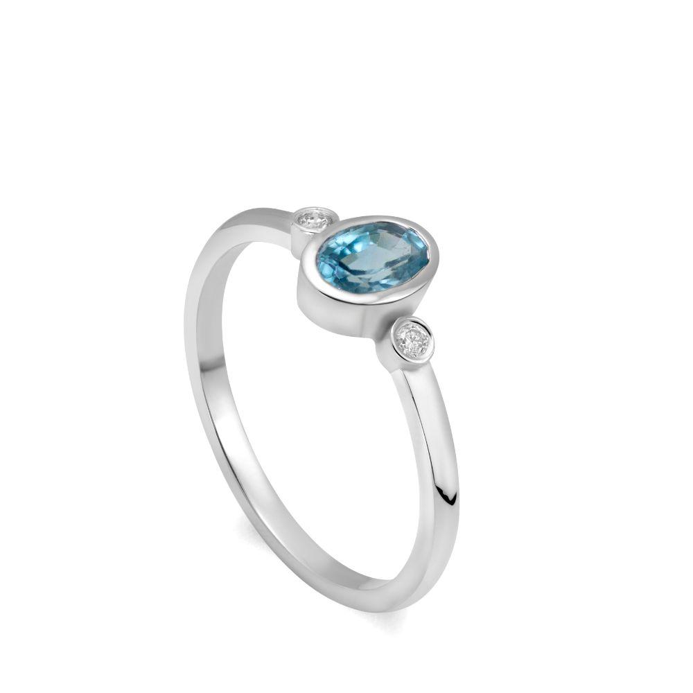 Δαχτυλίδι Ορυκτό Μπλε Ζιρκόν και Διαμάντια