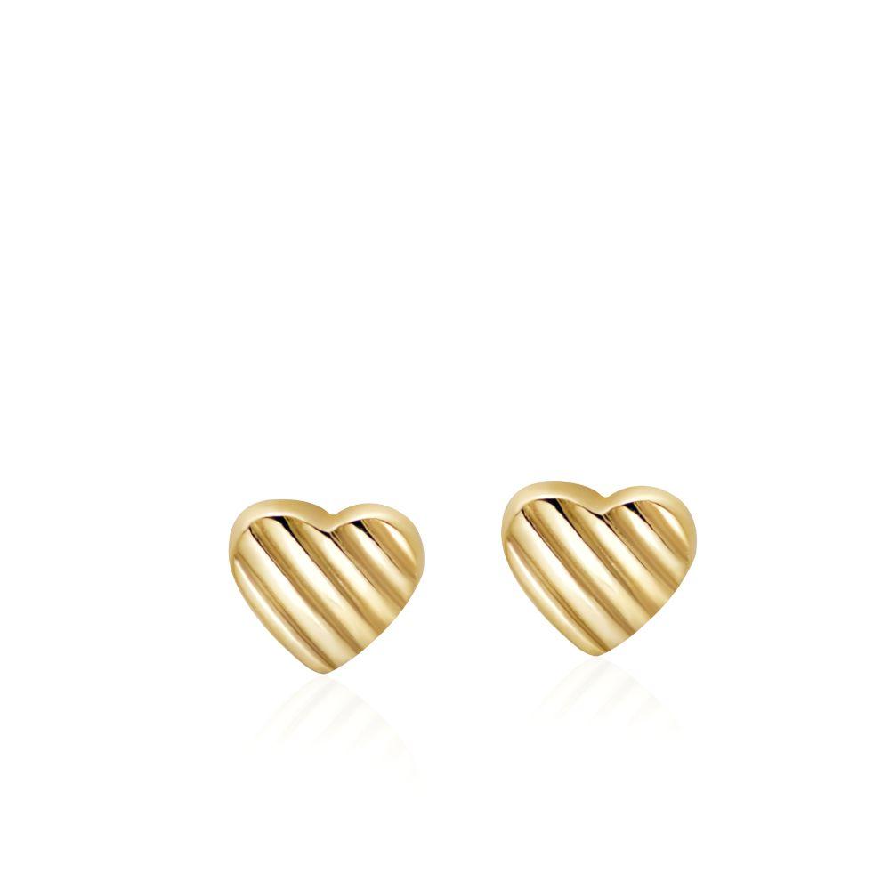 Καρφωτά Σκουλαρίκια Καρδιές 14Κ