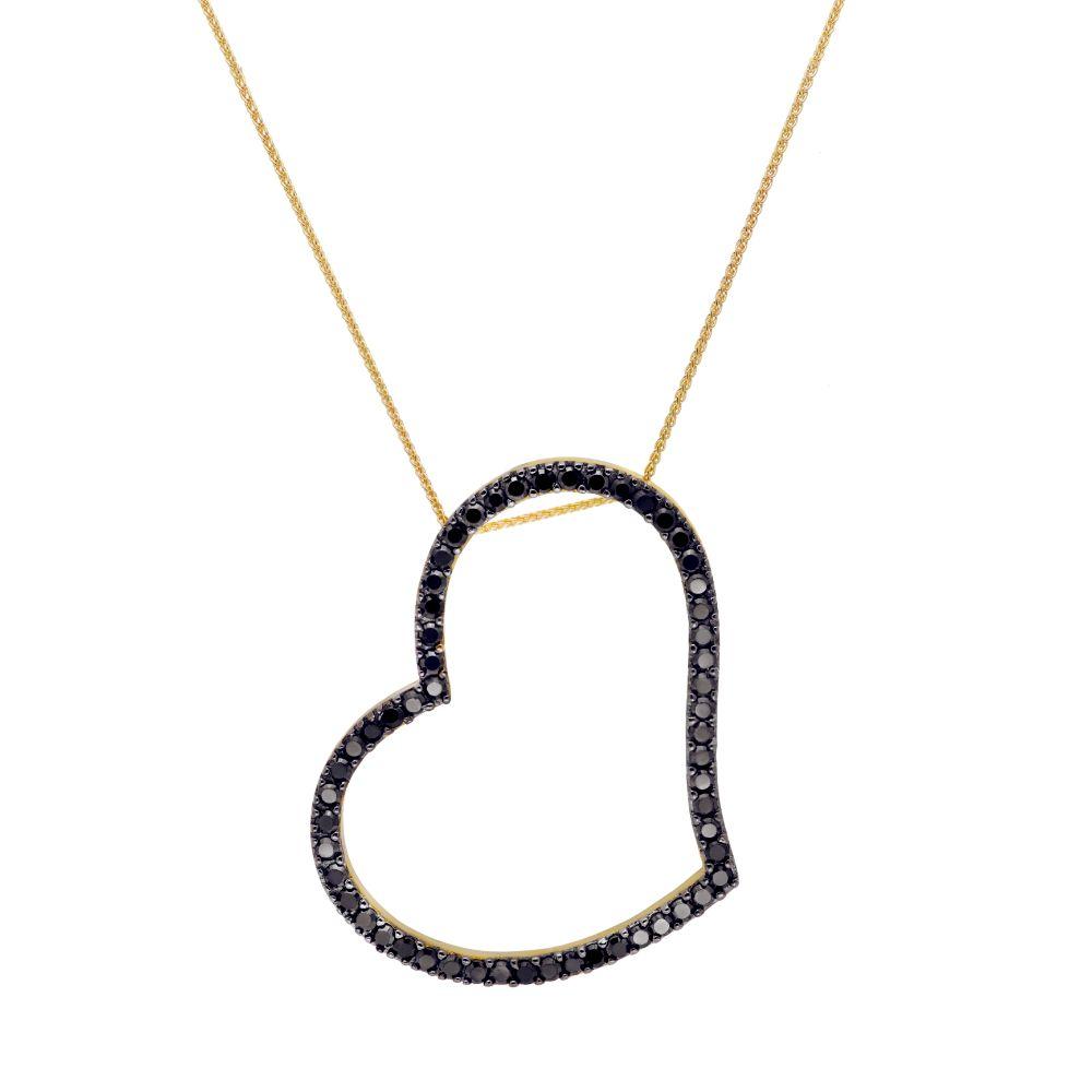 Κολιέ Μακρύ Καρδιά Μαύρες Πέτρες-0