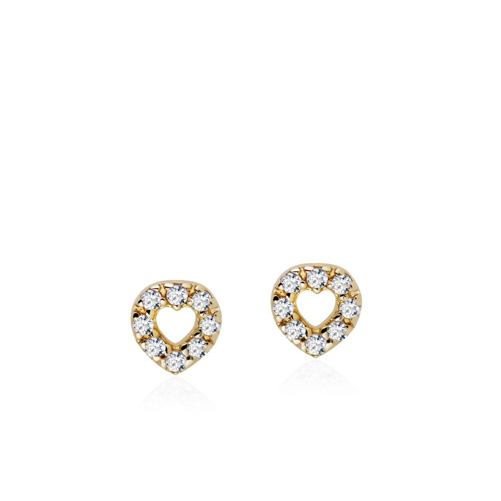 Σκουλαρίκια Καρδιές Διαμάντια Χρυσά