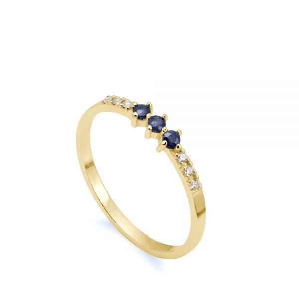 Δαχτυλίδι Ζαφείρια Διαμάντια Χρυσό 14Κ