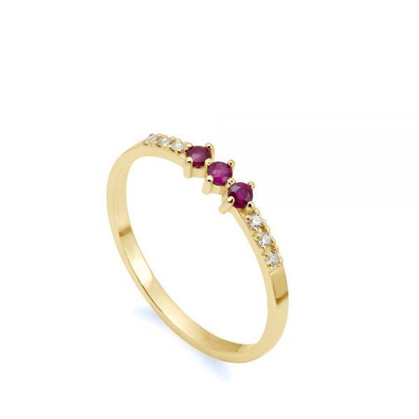 Δαχτυλίδι Ρουμπίνια Διαμάντια Χρυσό 14Κ