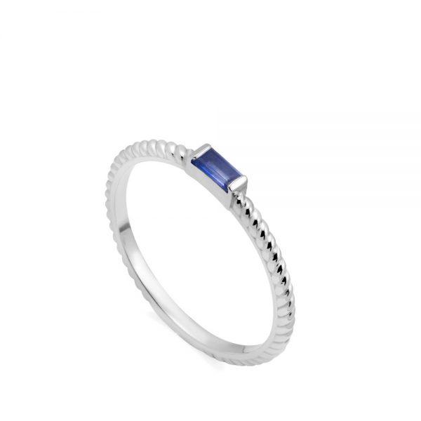 Δαχτυλίδι Λευκόχρυσο 14Κ Μπλε Ζαφείρι